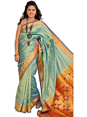 Quiet-Green Paithani Sari with Zari-Woven Border and and Brocade Aanchal