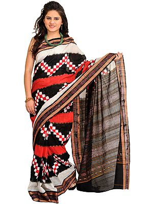 Black and Red Ikat Handloom Sari from Pochampally with Woven Checks and Rudraksha Border