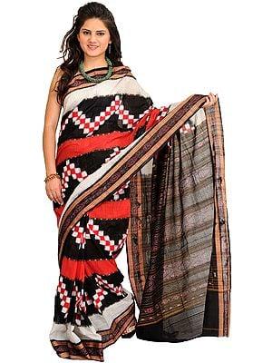 Black and Red Ikat Handloom Sari from Pochampally with Woven Checks and Rudraksha Border