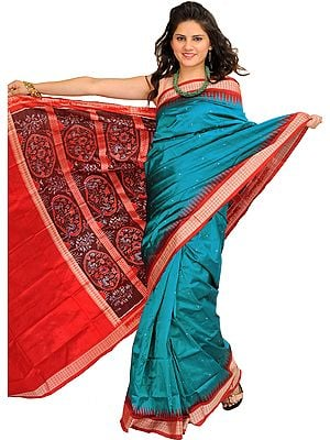 Blue and Red Handloom Ikat Sari from Sambhalpur with Woven Flowers on Pallu