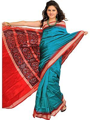 Blue and Red Handloom Ikat Sari from Sambhalpur with Woven Flowers on Pallu