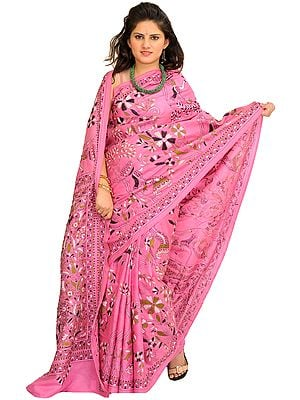 Aurora-Pink Kantha Sari from Kolkata with Hand-Embroidered Flowers and Ladies