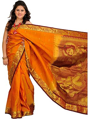 Nugget and Maroon Kanjivaram Sari from Bangalore with Woven Little Krishna on Aanchal