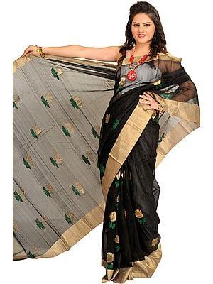 Jet-Black Chanderi Sari with Zari Woven Roses and Golden Border