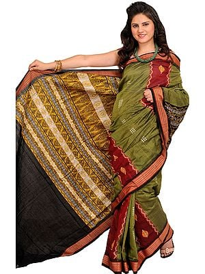 Capulet-Olive and Red Bomkai Sari from Orissa With Woven Rudraksha Border