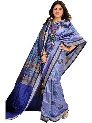 Lavender-Violet Bomkai Sari from Orissa with Woven Motifs and Rudraksha Border