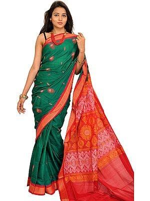 Green and Red Bomkai Sari from Orissa with Woven Motifs and Rudraksha Border