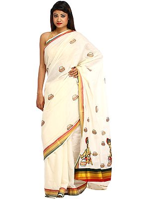 Ivory Kasavu Sari from Kerala with Embroidered Butter Krishna on Aanchal