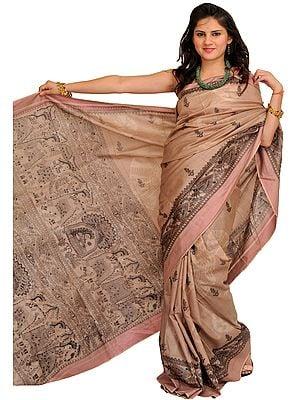 Moonlight Sari from Bengal with Printed Madhubani Folk Motifs