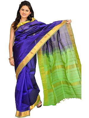 Blue and Green Solid Sari from Chennai with Golden Border