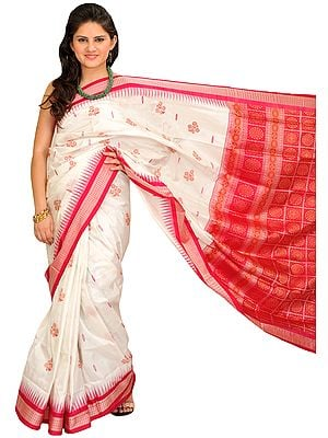 White and Pink Bomkai Sari from Orissa with Woven Rudraksha Temple Border
