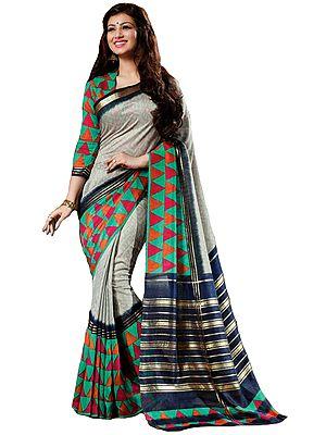 Gray and Green Printed Cochin-Silk Sari