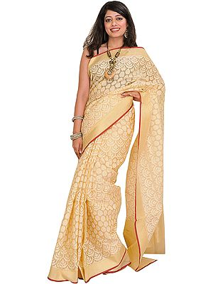 Almond-Oil Banarasi Kora Sari with Woven Motifs in Self