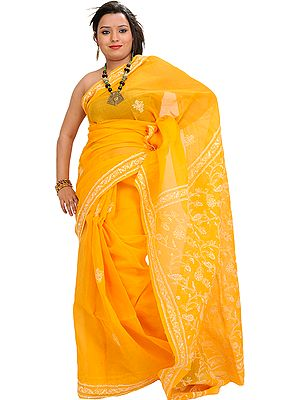 Marigold Sari from Lucknow with Chikan Hand-Embroidery