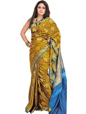 Bronze-Mist Sari from Bangalore with Zari-Woven Flowers and Brocaded Pallu