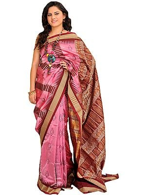 Pink and Maroon Bomkai Sari from Orissa with Woven Motifs and Rudraksha Border