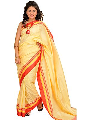 Vanilla Plain Puja Sari from Banaras with Woven Border