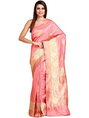 Shell-Pink Banarasi Handloom Sari with Woven Floral Border in Zari Thread
