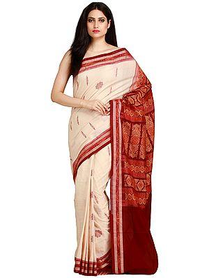White-Smoke and Maroon Bomkai Sari from Orissa with Woven Bootis and Ikat Weave on Border