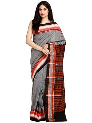 Frost-Gray Ikat Handloom Sari from Sambhalpur with Temple Border and Woven Rudraksha on Pallu