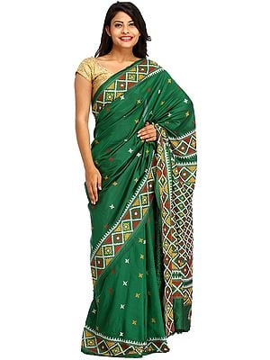 Fairway-Green Sari from Kolkata with Kantha Embroidery By Hand