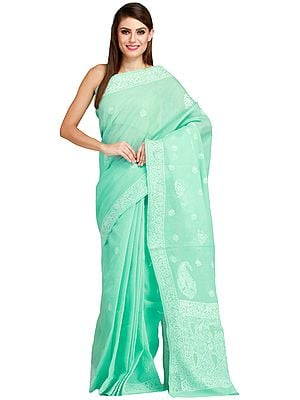 Yucca-Green Sari from Lucknow with Chikan Embroidery by Hand