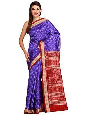 Blue and Maroon Sambhalpuri Handloom Sari from Orissa with Ikat-Woven Flowers