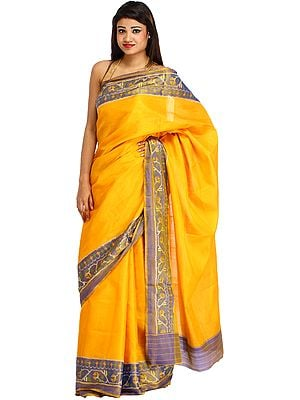 Citrus-Yellow Plain Patan Patola Sari from Gujarat with Ikat Weave on Border