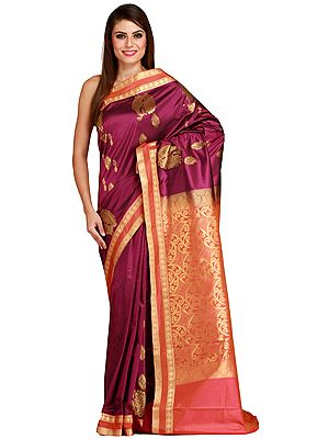 Purple-Potion Sari from Bangalore with Zari Woven Peacocks and Brocaded Pallu