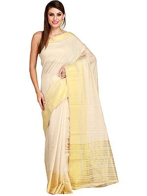 Pearled-Ivory Plain Sari from Bengal with Zari Woven Stripes on Border and Aanchal