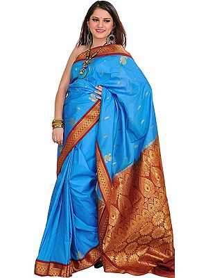 Blue and Maroon Sari from Bangalore with Zari Woven Flowers on Pallu