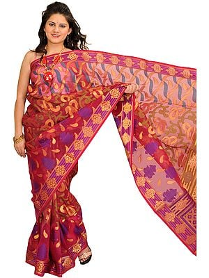 Sangria-Red Sari from Banaras with Woven Motifs in Zari Thread