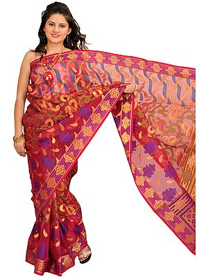 Sangria-Red Sari from Banaras with Woven Motifs in Zari Thread