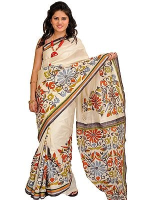 Ivory Sari from Kolkata with Printed Flowers and Kantha Embroidery By Hand