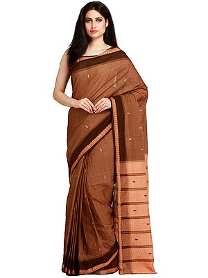 Thrush-Brown Venkateshwara Sari from Bangalore with Woven Paisleys on Border and Striped Pallu