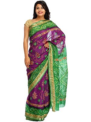 Purple and Green Bandhani Tie-Dye Marwari Sari from Jodhpur with Floral Embroidery