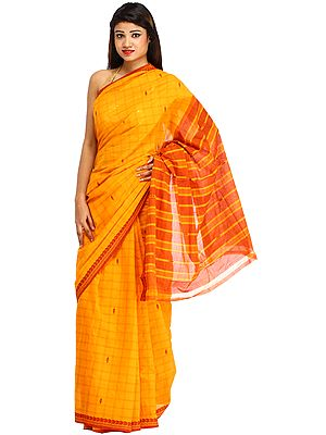Marigold and Maroon Venkateshwara Sari from Bangalore with Woven Checks All-Over and Paisleys on Border