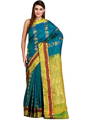 Mosaic-Blue Sari from Bangalore with Zari-Woven Flowers and Brocaded Pallu