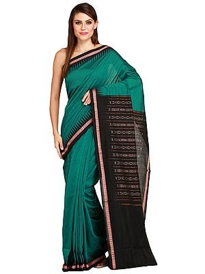 Green and Black Handloom Sari from Sambhalpur with Temple Border and Ikat Weave on Pallu