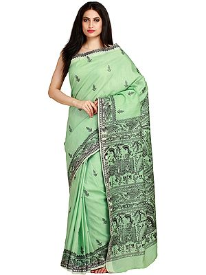 Pastel-Green Sari from Bengal with Printed Madhubani Folk Motifs