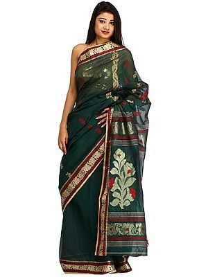 Bistro-Green Purbasthali Tangail Sari from Bengal with Woven Flowers