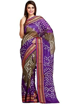 Purple and Olive Double-Shaded Bandhani Tie-Dye Sari from Jodhpur with Woven Border