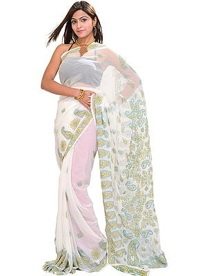 Bright-white Lukhnavi Chikan Sari with Embroidered Paisleys by Hand