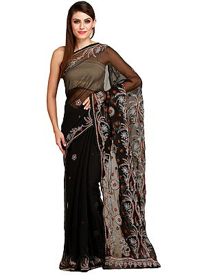 Jet-Black Lukhnavi Chikan Sari with Floral-Embroidery by Hand