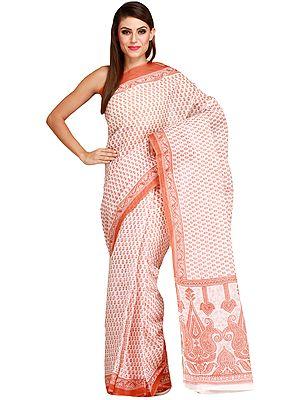 White and Brown Sari with All-Over Printed Bootis and Paisleys on Pallu