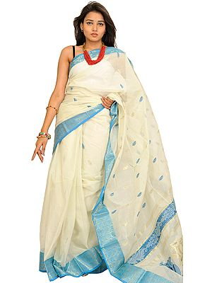Ivory and Blue Purbasthali Sari from Bengal with Floral Woven Border and Bootis