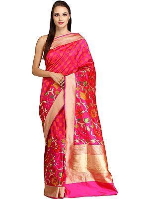 Magenta-Pink Banaras Sari with Kadhwa Floral Weave and Zari Striped Border