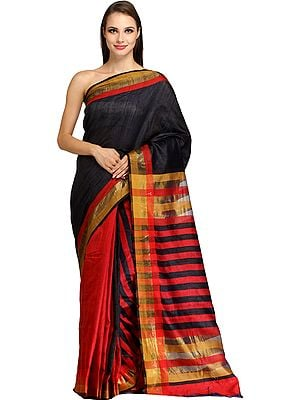 Black and Red Half and Half Kosa Sari from Bengal with Woven Stripes
