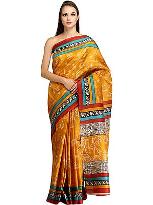 Sunflower Sari from Bengal with Printed Warli Folk Motifs and Striped Border