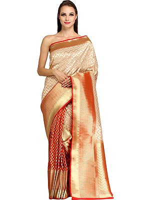 Wedding Half and Half Banarasi Sari with Zigzag Weave in Zari-Thread and Brocaded Pallu